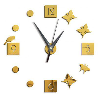 Buy GOLDEN Butterfly Pattern Clock Home Decor Removable Wall Sticker for $8.06 in GearBest store