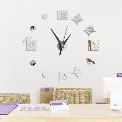 Buy SILVER Butterfly Pattern Clock Home Decor Removable Wall Sticker for $8.06 in GearBest store