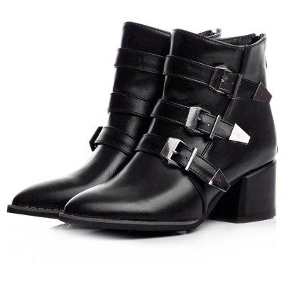 Female Stylish Buckle Decorative Ankle Boots