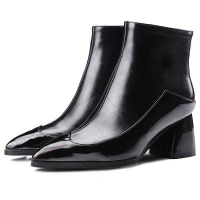 Male Trendy Split Joint Chunky Heel Boots