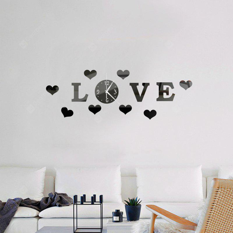3D Decorative Love Shape Acrylic Mirror Wall Clock