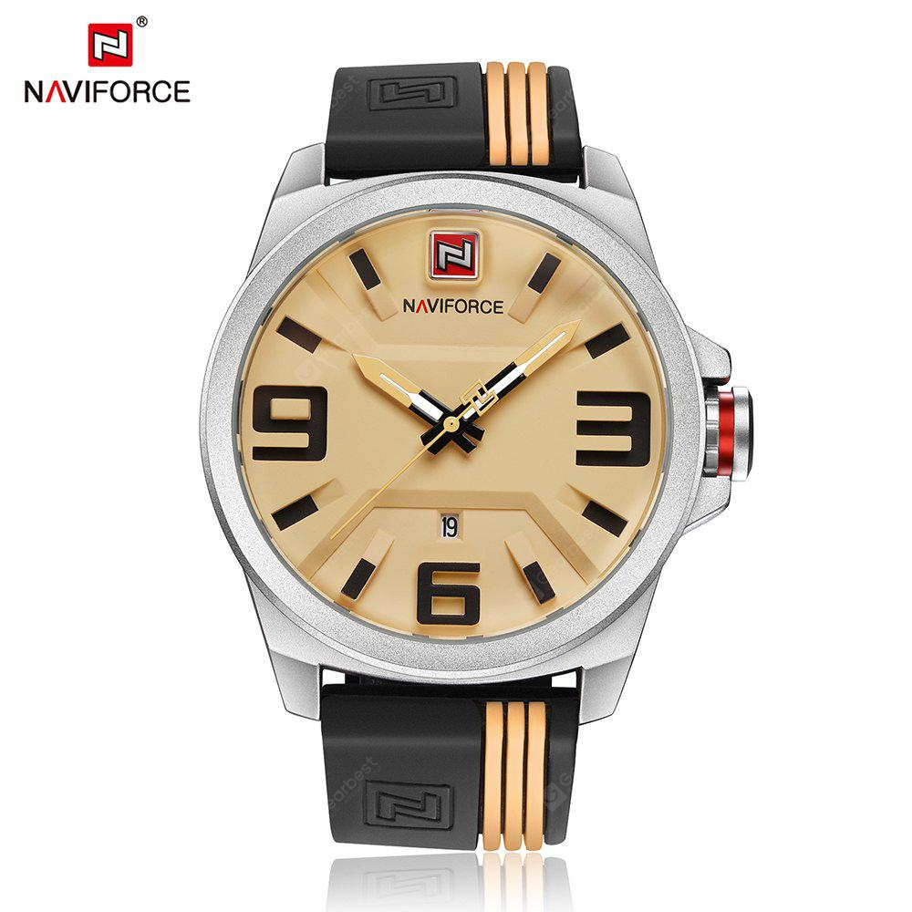 WHITE AND YELLOW NAVIFORCE Fashion Japan Movement Men Watch