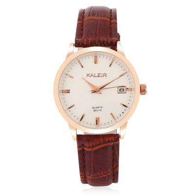KALEIR B8319 Women Contracted WristwatchWomens Watches<br>KALEIR B8319 Women Contracted Wristwatch<br><br>Band material: Leather<br>Band size: 25 x 2cm<br>Brand: KALEIR<br>Case material: Alloy<br>Clasp type: Pin buckle<br>Dial size: 3.2 x 3.2 x 0.85cm<br>Display type: Analog<br>Movement type: Quartz watch<br>Package Contents: 1 x Watch<br>Package size (L x W x H): 27.00 x 5.20 x 2.85 cm / 10.63 x 2.05 x 1.12 inches<br>Package weight: 0.0460 kg<br>Product size (L x W x H): 25.00 x 3.20 x 0.85 cm / 9.84 x 1.26 x 0.33 inches<br>Product weight: 0.0260 kg<br>Shape of the dial: Round<br>Special features: Date<br>Watch mirror: Acrylic<br>Watch style: Fashion, Classic<br>Watches categories: Women<br>Water resistance: Life water resistant
