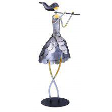 MCYH 523 1PC Creative Metal Figurine Iron Flute Girl Artwork