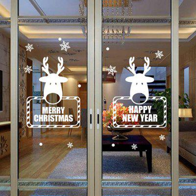 Buy WHITE MCYH Christmas Snowflakes Deer Design Sticker for $6.39 in GearBest store