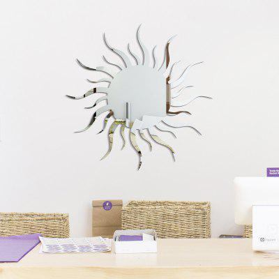 Buy SILVER Removable Decorative Sun Shape Mirror Wall Stickers for $6.72 in GearBest store