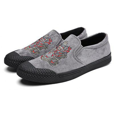 Buy GRAY Male Stylish Embroidered Slip On Casual Shoes for $25.29 in GearBest store