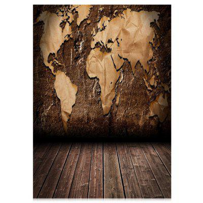 World Map Wood Floor Photography Backdrop Cloth