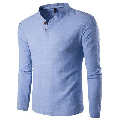 Buy AZURE L Casual Comfortable V Neck Long Sleeve T-shirt for $13.47 in GearBest store