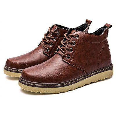 Masculino British Simple Soft Lace Ankle Leather Boots