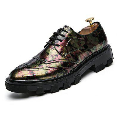 Masculino Stylish Printed Glossy Casual Leather Shoes