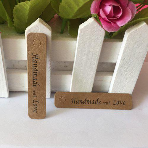 WOOD Handmade with Love Style Kraft Paper Packaging Label