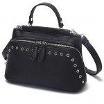 Women Fashion PU Tote Shoulder Bag with Zip - BLACK