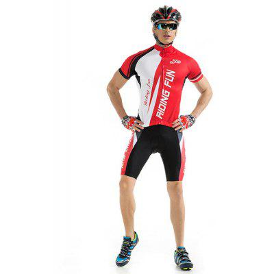 RIDING FUN Men Breathable Short-sleeved Riding Clothes Suit with 3D Sponge Cushion
