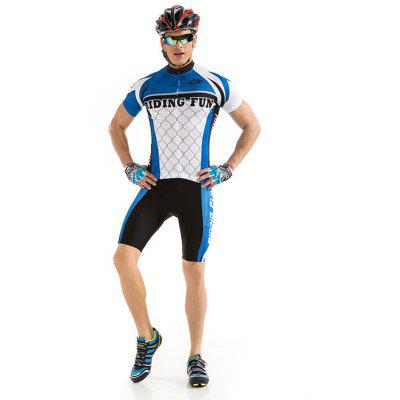 RIDING FUN Men Quick-drying Short-sleeved Riding Clothes Suit with 3D Sponge Cushion
