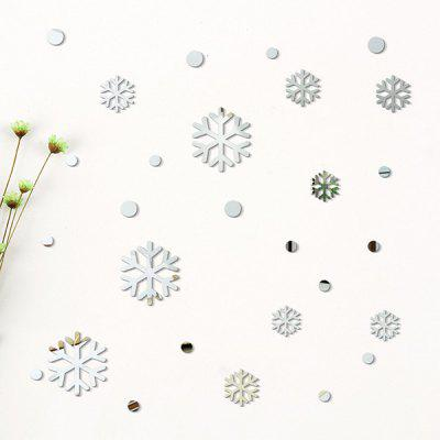 Buy SILVER 28PCS Creative DIY Christmas Snow Mirror Wall Stickers for $6.56 in GearBest store