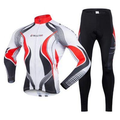 Men Breathable Long-sleeved Riding Clothes Suit with 3D Sponge Padded