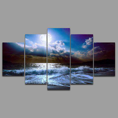 Buy COLORMIX YSDAFEN kn 218 5 Panels Sea Picture Canvas Print for $41.09 in GearBest store