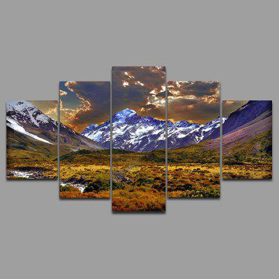 Buy COLORMIX YSDAFEN kn 216 5 Panels Mountains Picture Canvas Print for $55.37 in GearBest store
