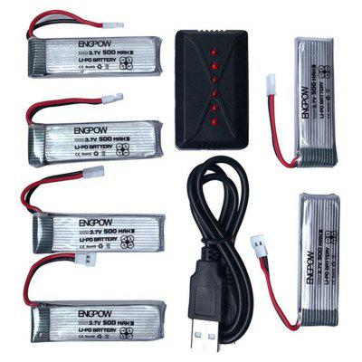 BNGPOW 6 in 1 1S 500mAh 3.7V 25C Li-Po Battery + Charger