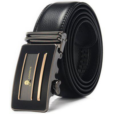 Men Trendy Alloy Pattern Buckle Trouser Belt