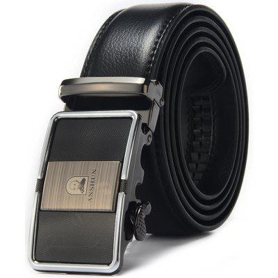 Business Leather Alloy Buckle Trouser Belt for Men