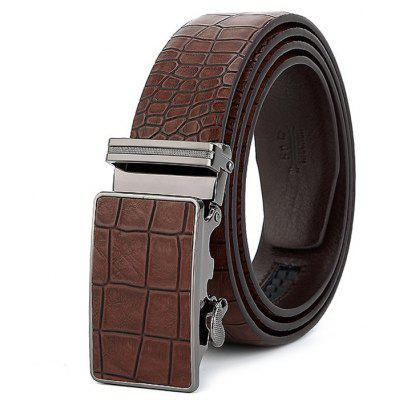 Men Chic Alloy Buckle Genuine Leather Trouser Belt
