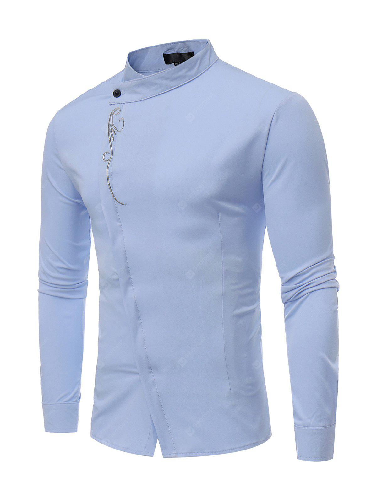 Men Embroidered Stand Collar Long Sleeves Shirt 1169 Free