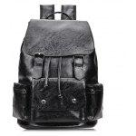 Men Stylish Retro Multifunctional PU Backpack - BLACK