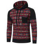 Ethnic Printed Joint mangas compridas Hoodie para homens - PRETO