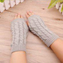 Knitted Short Fingerless Gloves for Office Women Worker