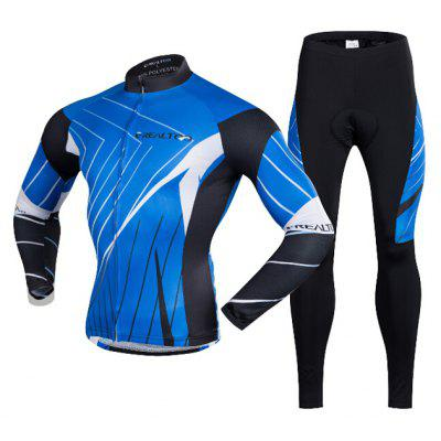 Men Breathable Long-sleeved Riding Clothes Suit with 3D Sponge Cushion