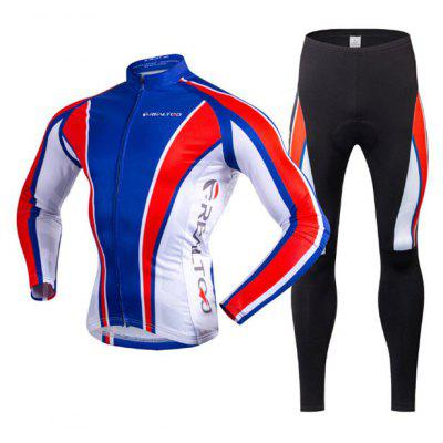 REALTOO Men Fleece Thermal Long-sleeved Riding Clothes Suit