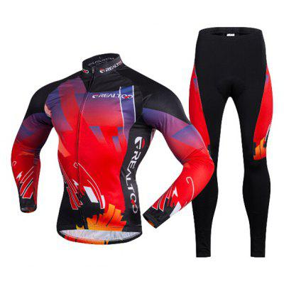 Men Fleece Thermal Long-sleeved Riding Clothes Suit with 3D Sponge Cushion