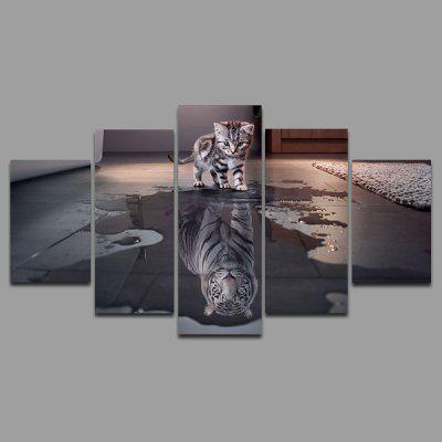 Buy COLORMIX YSDAFEN kn 256 5 Panels Cat Picture Canvas Print for $55.37 in GearBest store