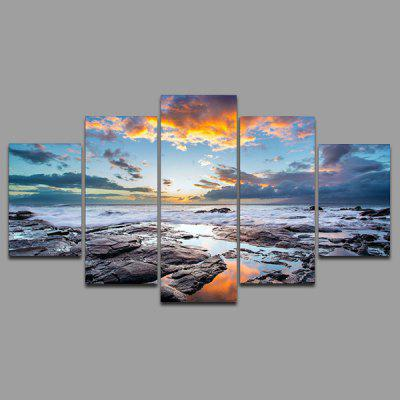 Buy COLORMIX YSDAFEN kn 238 5 Panels Beach Picture Canvas Print for $55.37 in GearBest store