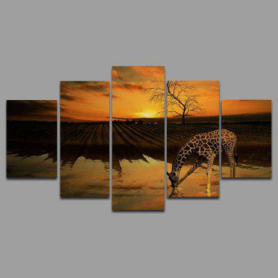 Buy COLORMIX YSDAFEN kn 235 5 Panels Giraffe Picture Canvas Print for $55.37 in GearBest store