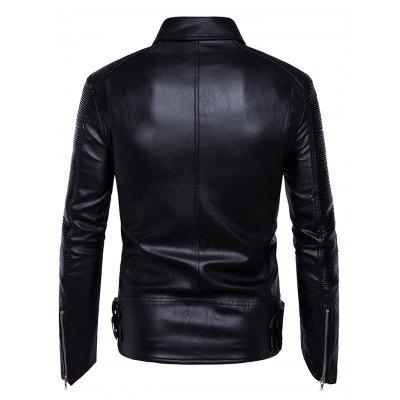 Stylish Slim PU Leather Biker Zipper Jacket CoatMens Jackets &amp; Coats<br>Stylish Slim PU Leather Biker Zipper Jacket Coat<br><br>Closure Type: Zipper<br>Clothes Type: Jackets<br>Collar: Turn-down Collar<br>Embellishment: Zippers<br>Materials: PU<br>Package Content: 1 x Jacket<br>Package Dimension: 35.00 x 30.00 x 2.00 cm / 13.78 x 11.81 x 0.79 inches<br>Package weight: 1.1200 kg<br>Pattern Type: Solid<br>Product weight: 1.1000 kg<br>Seasons: Autumn<br>Shirt Length: Regular<br>Sleeve Length: Long Sleeves<br>Style: Leather<br>Thickness: Medium thickness