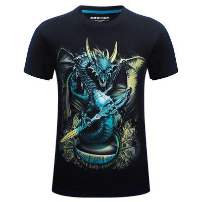 Buy BLACK 2XL Male Stylish 3D Dragon Printed Breathable T-shirt for $13.85 in GearBest store
