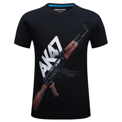 Male Unique Comfortable AK 47 Printing T-shirt