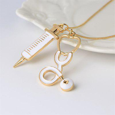 Medicine Stethoscope Syringe Pendant NecklaceNecklaces &amp; Pendants<br>Medicine Stethoscope Syringe Pendant Necklace<br><br>Occasions: Performance<br>Package Contents: 1 x Necklace<br>Package size (L x W x H): 6.00 x 5.00 x 4.00 cm / 2.36 x 1.97 x 1.57 inches<br>Package weight: 0.0400 kg<br>Product weight: 0.0200 kg<br>Style: Fashion<br>Type: Necklaces