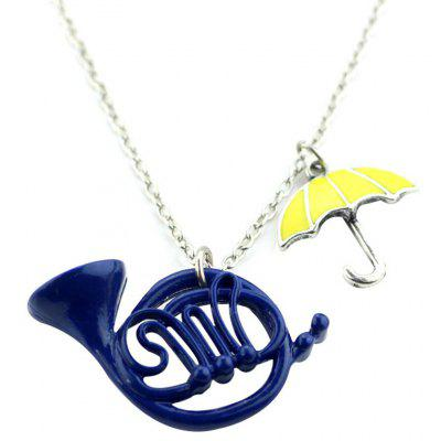 Trumpet Umbrella Pattern Pendant Women Necklace