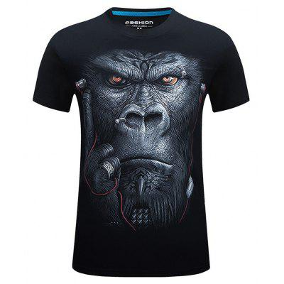 Buy BLACK L Male Stylish 3D Gorilla Printed Casual T-shirt for $13.85 in GearBest store
