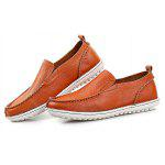 Buy Male Stylish Soft Slip Flat Casual Leather Shoes 44 BROWN