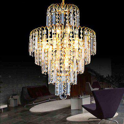 New Creative Warm Iron LED Gold Crystal Chandelier 220V
