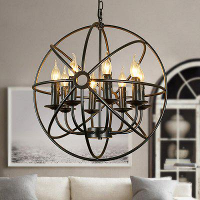 American Retro Iron Birdcage 6 Head Chandelier 220V