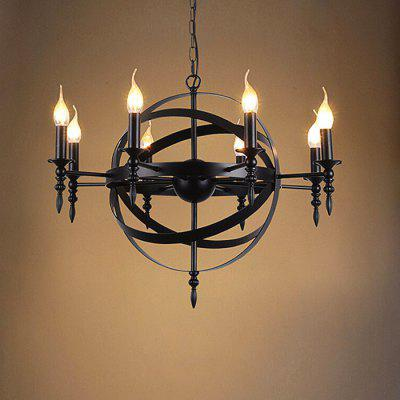 Retro American Country Candle Iron Chandelier 220V