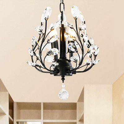Buy BLACK E14 3 Branches American Style Crystal Chandelier 220V for $109.69 in GearBest store
