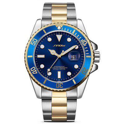 Buy BLUE AND GOLDEN SINOBI 9721 Stainless Steel Band Men Quartz Watch for $22.80 in GearBest store