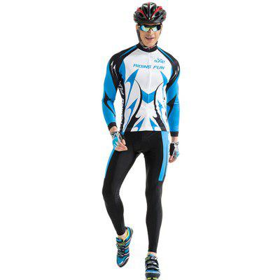 RIDING FUN Men Breathable Long Sleeve Riding Clothes Suit with 3D Sponge Cushion